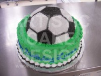 Soccer ball on cake