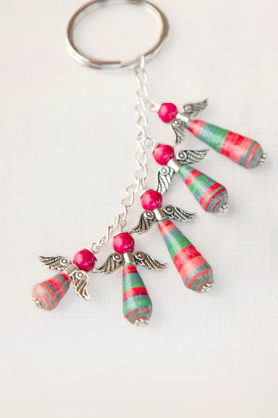 Paper Bead Angel Keychain