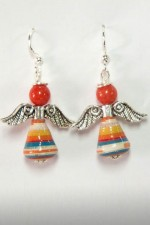 Paper Bead Angel Earrings: Nicaraguan women created this 5 decade rosary using hand-painted, recycled wallpaper that has been cut and rolled into beautiful beads. The paper beads have been sealed in many coats of glossy water-based varnish.</p></p>Since each bead is handmade, product may vary slightly from picture shown here.