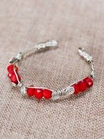 Thin Wire Bangle - Bright Red