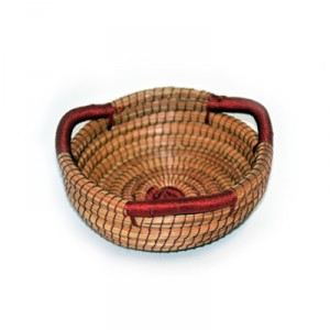 Small Rounded Basket with 3 Handles - Wine