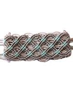 Thick Macrame Cuff- Grey and Turquoise