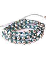 Triple Wrap Bracelet-Turquoise and Metal Beads