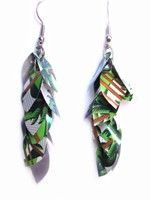 Recycled Leaf Earring-Toña Green and White