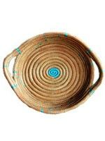 Medium Round Basket with Handles-Turquoise