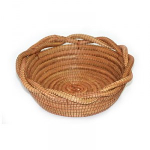 Small Round Basket with Twisted Border - Brown