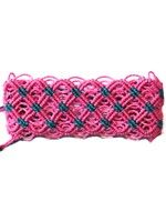 Thick Macrame Cuff- Pink and Turquoise