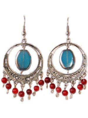 Luna Earring- Cerulean and Red