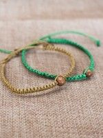 Single Bead Macrame Bracelet- Green or Mustard