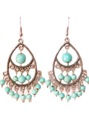 Lagrima Earrings- Turquoise Beads