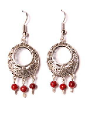 Bubble Earring-Crimson Red Beads