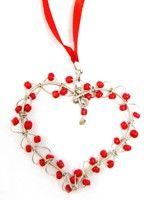 Share Your Heart Beaded Ornament-Red or Pink