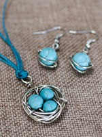 Bird's Nest - Necklace & Earrings Set