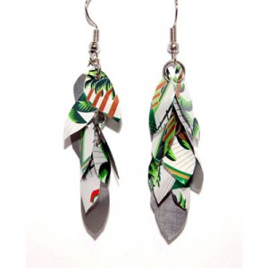 Recycled Leaf Earring - Toña Green and White