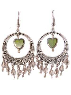 Luna Earring- Heart and Crystal