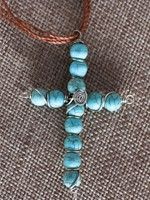 Cross Pendant Necklace - Turquoise
