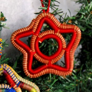 Pine Needle Ornament - Red Star