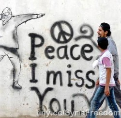 Pacifist graffiti in Syria, 2012. (Photo by Freedom House.)