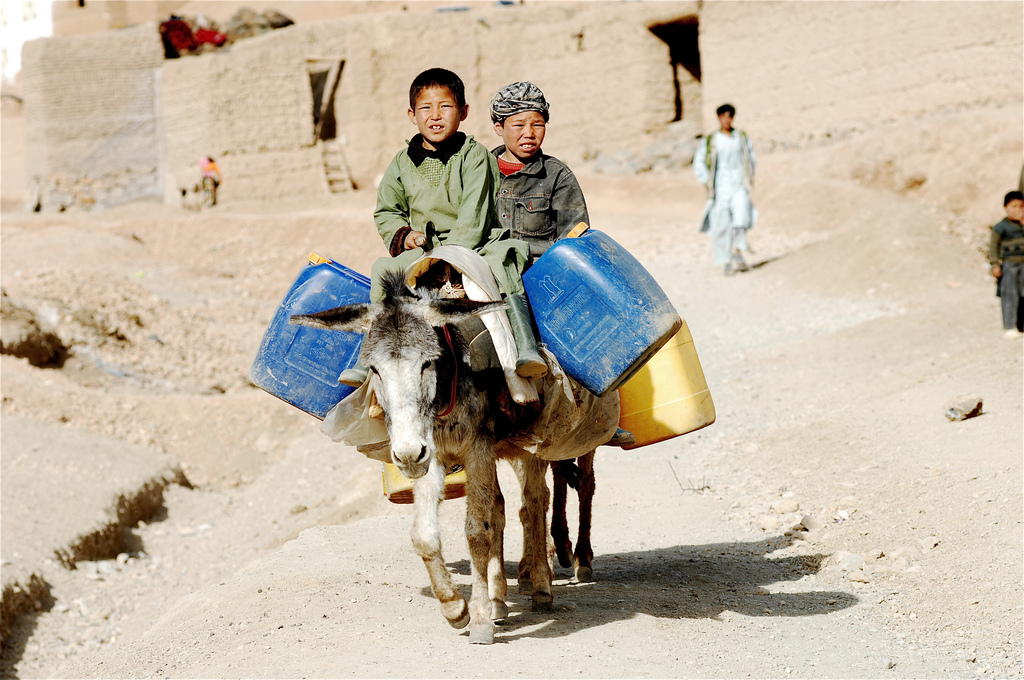 Collecting water in Afghanistan