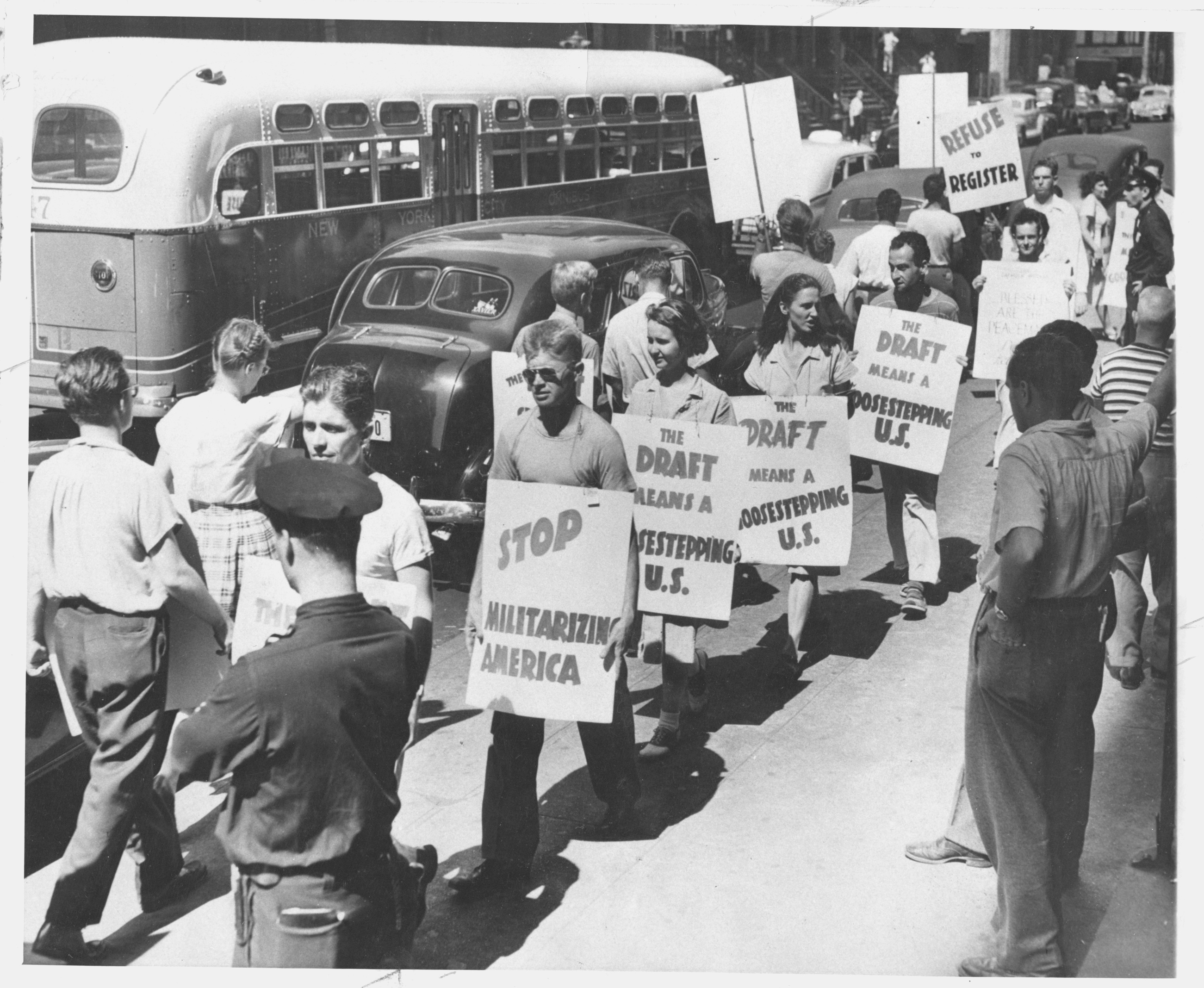 World War II-era anti-draft protest (FOR Archives)