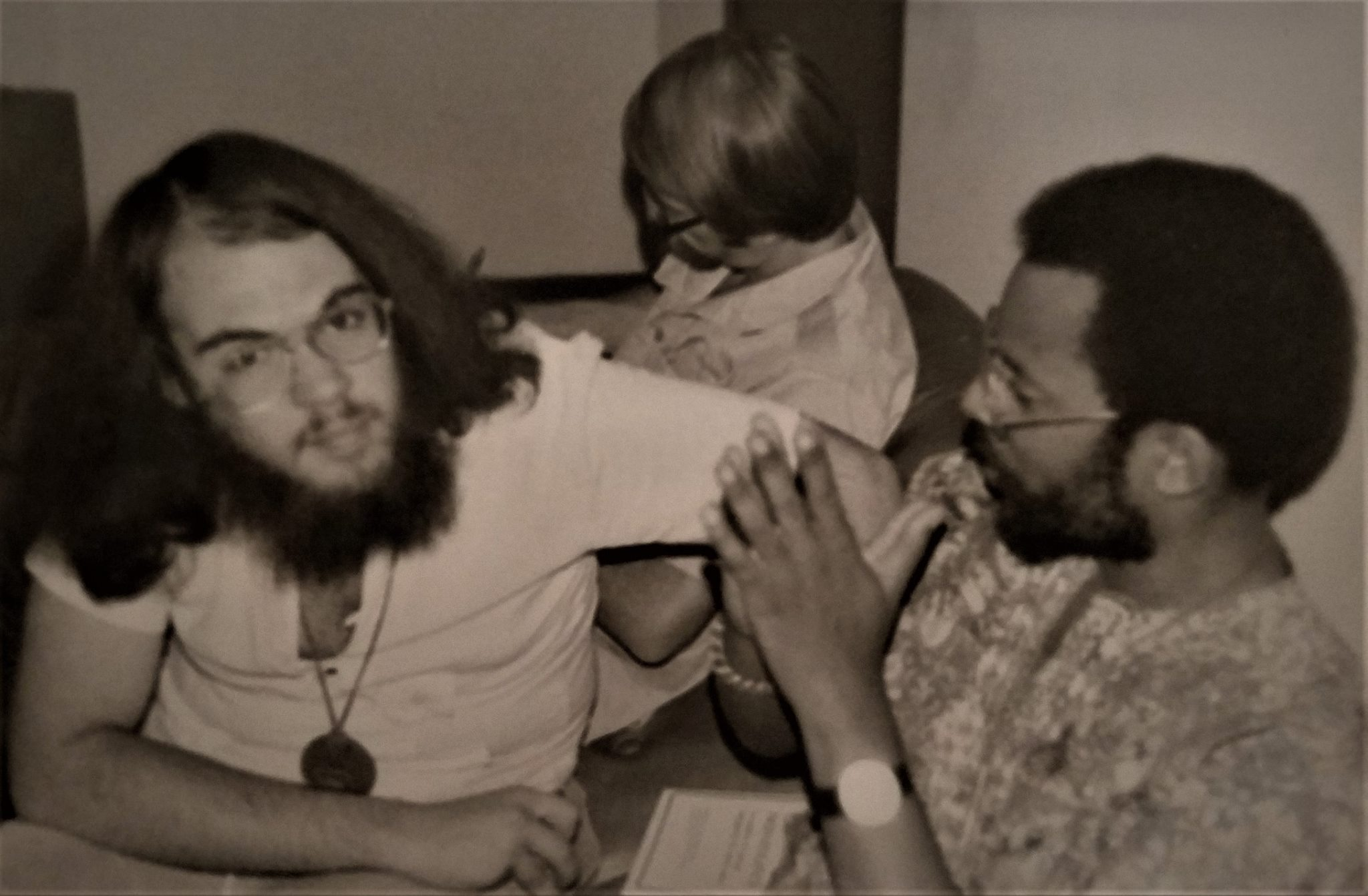 Matt Meyer, Duane Shank, and Mark Harrison - 1982 Nicaragua interfaith delegation