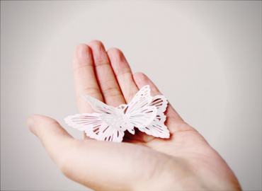 Hand with paper butterfly