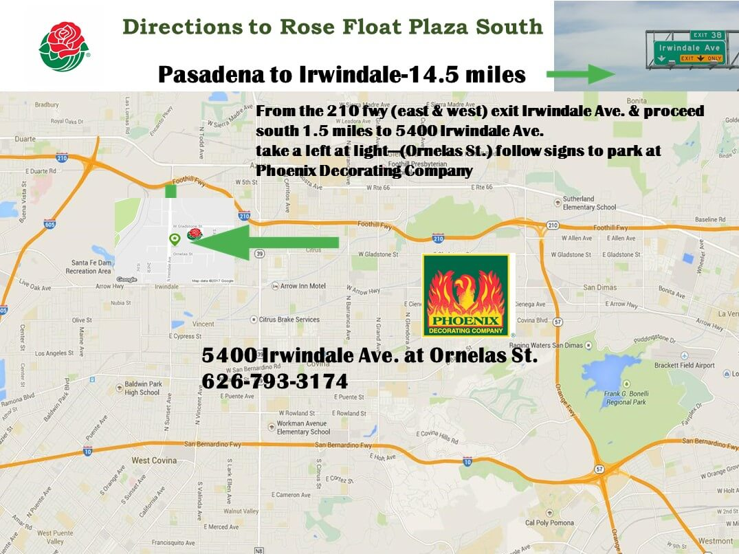 Directions to Rose Float Plaza South